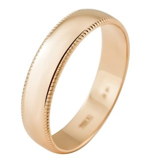 Обручальное кольцо из золота 585 пробы с алмазной гранью, ширина 4,5 мм