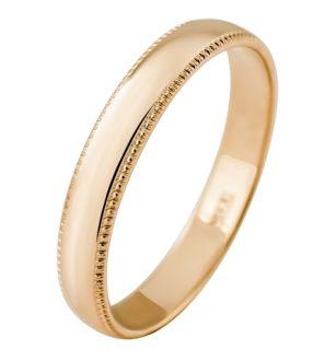Обручальное кольцо из золота 585 пробы с алмазной гранью, ширина 3,5 мм