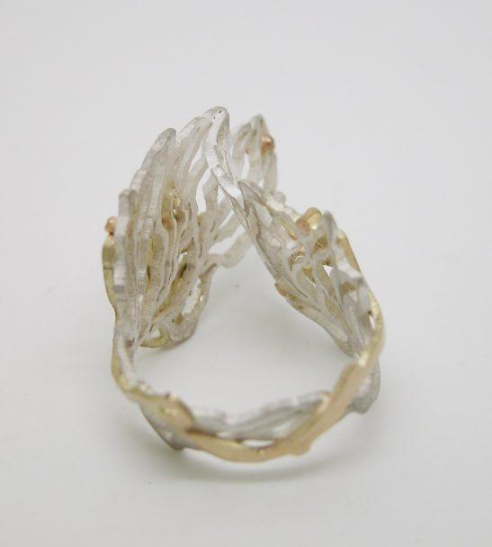 Кольцо золотое и серебряное – Перо жар-птицы.