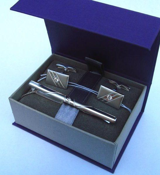 зажим для галстука и запонки (серебро 925) в подарочном футляре