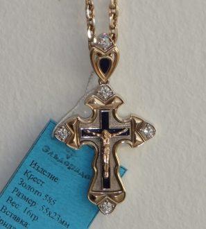 Крест Православный из комбинированного золота с бриллиантами и эмалью