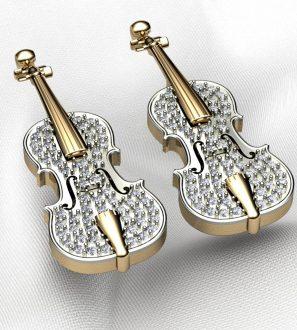 Серьги скрипка