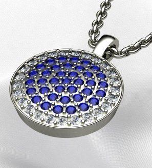 Кулон с сапфирами и бриллиантами
