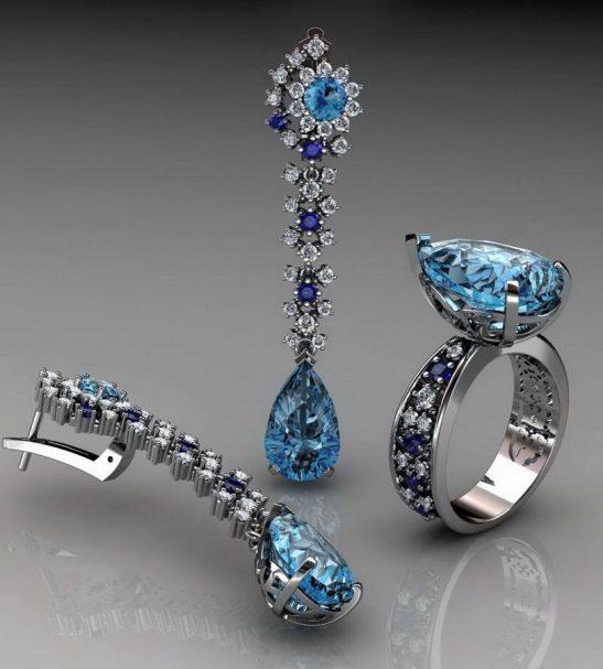Кольцо и серьги. Бриллианты, сапфиры и топазы.