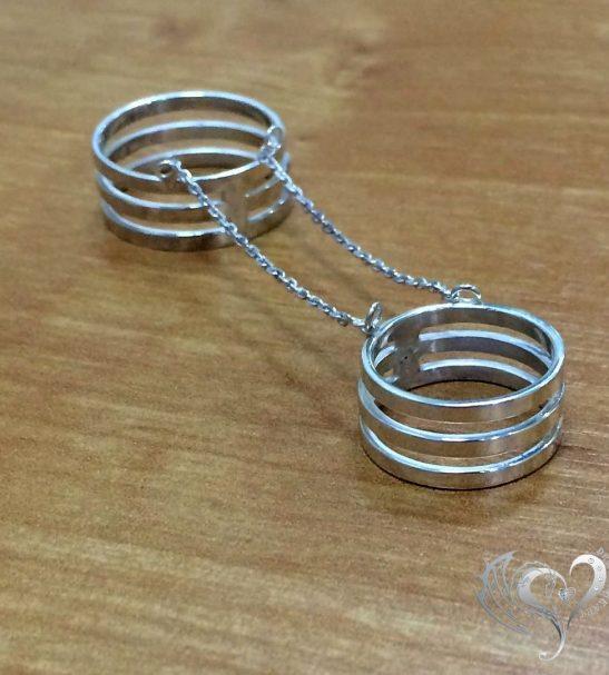 Кольцо на две фаланги с цепочками