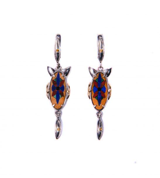 Серьги с флорентийской мозаикой и драгоценными камнями