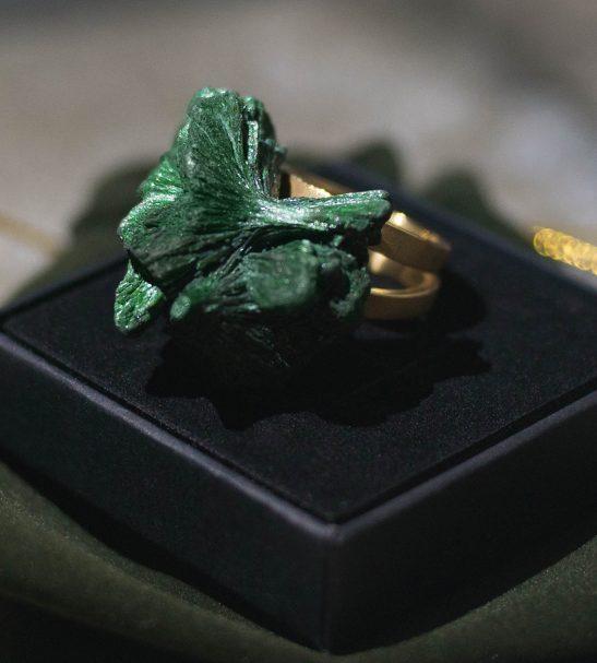 Кольцо. Натуральный малахит
