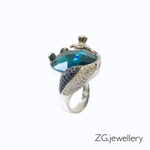 Кольцо «Павлин и лазурь». 🔺 Белое золото 585, голубой