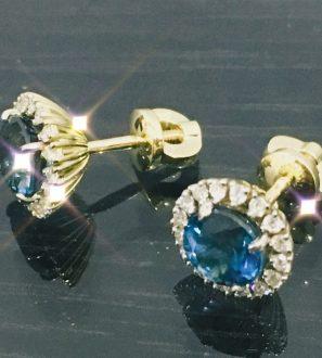 Пусеты с топазами и бриллиантами