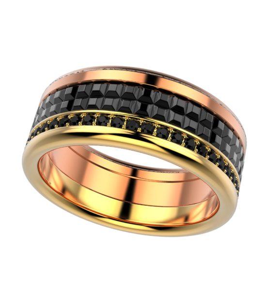 Комбинированное кольцо изжелтого и розового золота