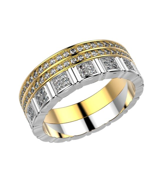 Комбинированное кольцо из белого и желтого золота