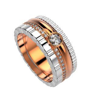 Комбинированное кольцо из белого и розового золота