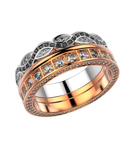 Комбинированное кольцо из розового и белого золота