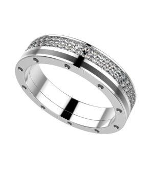 Комбинированное кольцо из белого золота
