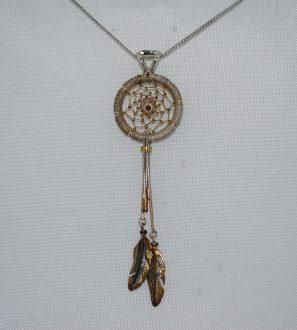 """кулон """"Ловец Снов"""" серебро, вставка натуральный гранат."""