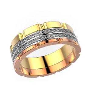 Комбинированное кольцо из белого, розового и желтого золота