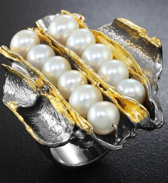 Серебряное кольцо с жемчугом и оранжевым сапфиром