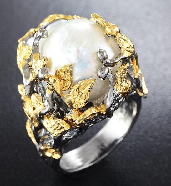 Серебряное кольцо с жемчужиной барокко