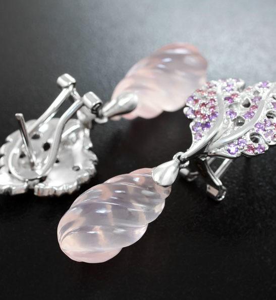 Серебряные серьги с розовым кварцем авторской огранки, аметистами и сапфирами