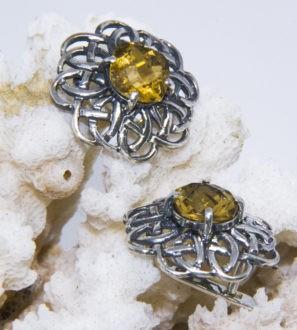 Серебряные серьги с цитрином